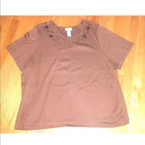 Liz & Me Brown Shirt Women's - Size 3X